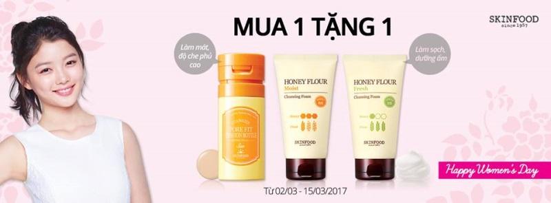 Từ 02/03 - 15/03/2017, Skin Food áp dụng chương trình khuyến mãi chỉ mua 1 tặng 1 - Ảnh 1