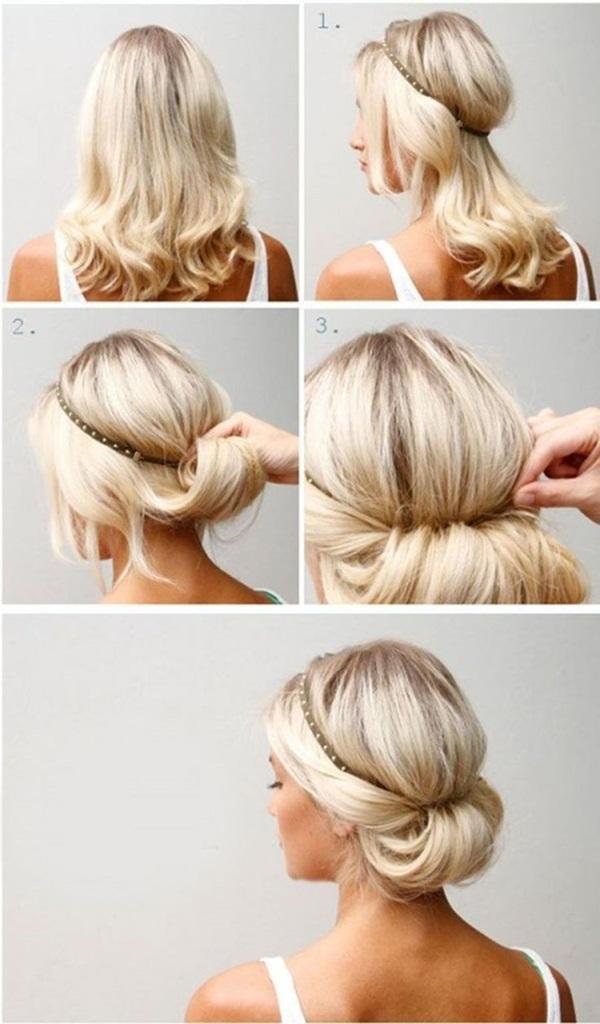 Kiểu tóc buộc thấp với băng đô