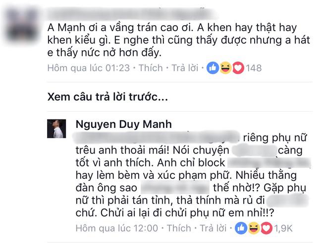Loạt bình luận 'bá đạo' của Duy Mạnh trên Facebook: Người 'đổ' rầm rầm, kẻ chửi tục tĩu - Ảnh 4
