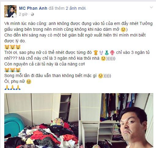 MC Phan Anh bị lộ bí mật phòng the khi đăng ảnh tủ quần áo của vợ khiến fan cười 'không nhặt được mồm' - Ảnh 1