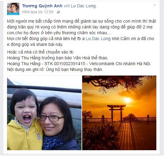 Trương Quỳnh Anh kêu gọi giúp đỡ người mẹ trẻ đang nuôi con nhỏ cần thay thận khẩn cấp - Ảnh 1