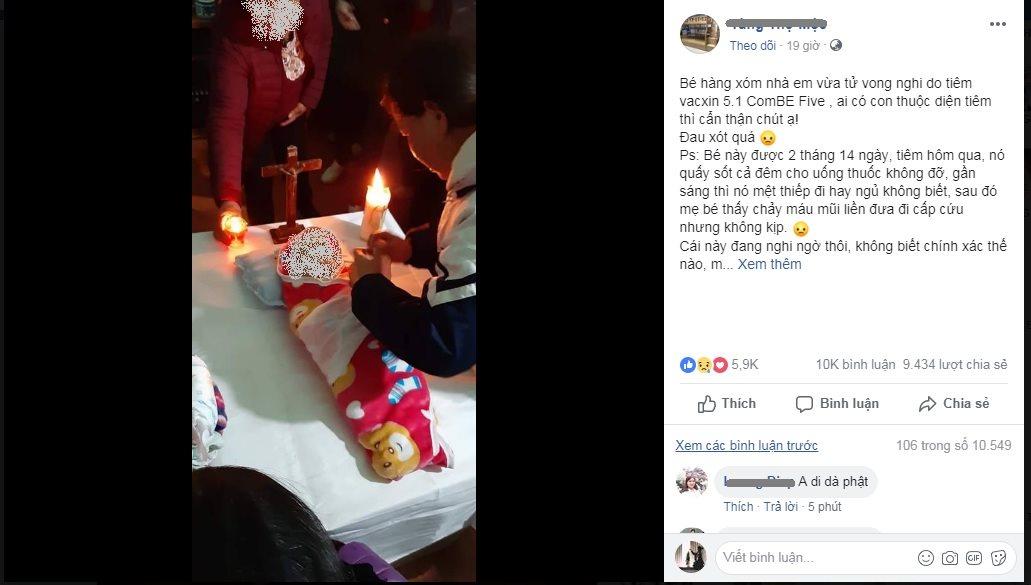 Bé 70 ngày tuổi tử vong sau tiêm vaccine ở Hà Nội - Ảnh 1