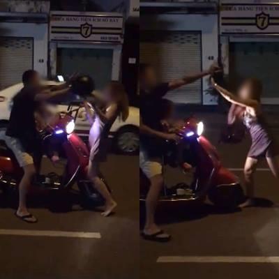 Ngược đời, vợ 'hiên ngang' đánh chồng giữa phố - Ảnh 1