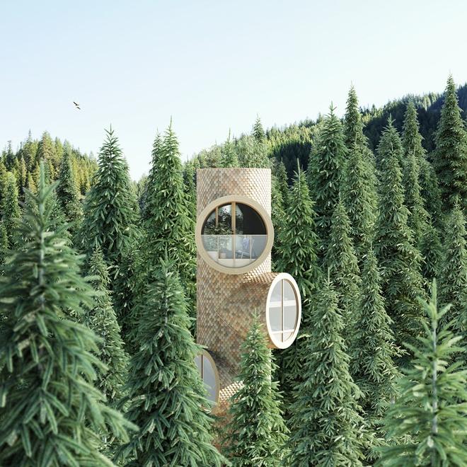 Ngôi nhà hình gốc cây ở Áo - Ảnh 2
