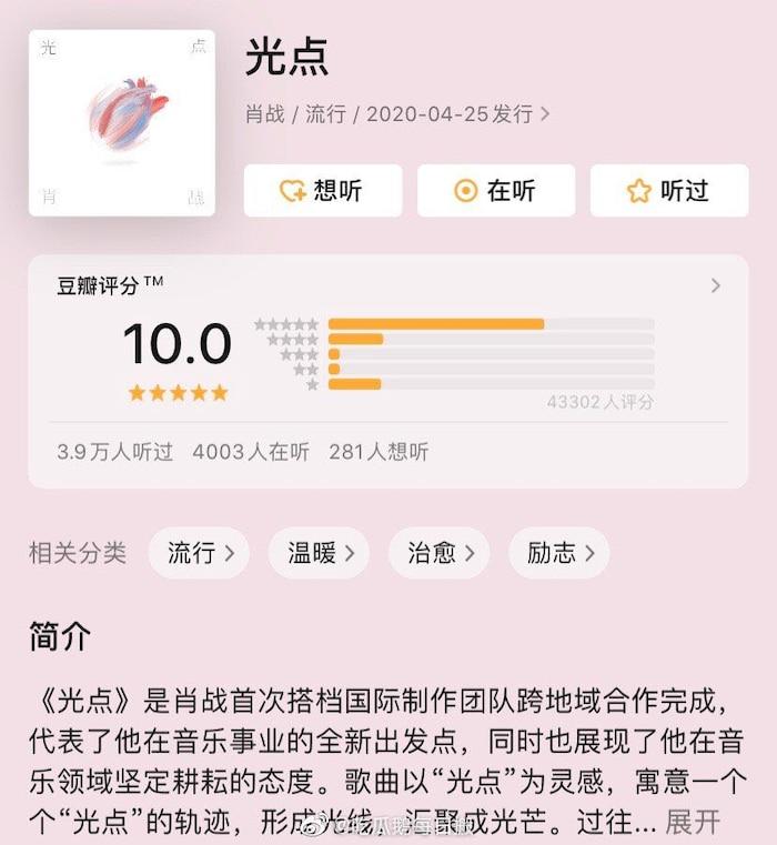 Chưa từng có trong lịch sử: Điểm số Douban bài hát mới của Tiêu Chiến từ 6.7 lên thẳng 10.0 tròn trĩnh - Ảnh 6