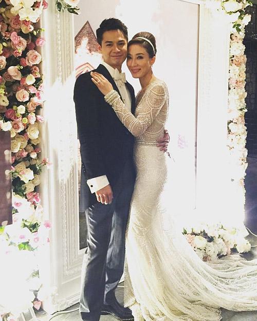 Dương Di và ông xã trong ngày cưới.