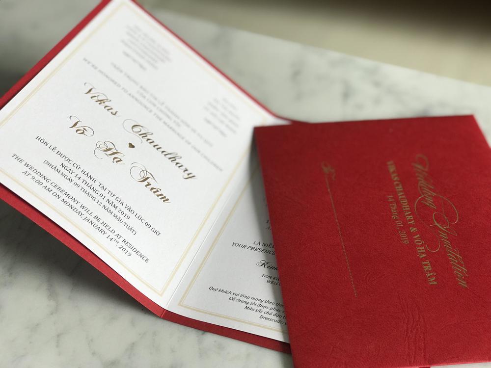 Thiệp mời cưới của Võ Hạ Trâm và chồng Ấn Độ