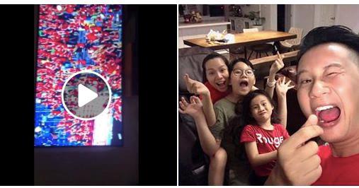 Hoàng Bách chia sẻ giây phút hạnh phúc của cả gia đình khi đội Việt Nam chiến thắng.