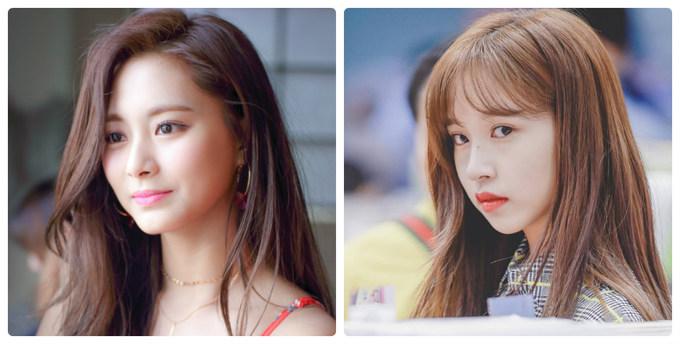Tzuyu (trái) xứng đáng với vị trí visual của Twice. Nhan sắc của em út được chú ý từ chương trình sống còn Sixteen. Gần đây, Mina đang nổi lên nhờ khí chất tiểu thư sang trọng, dịu dàng. Nữ idol có nhiều khoảnh khắc ''gây bão'' mạng xã hội.