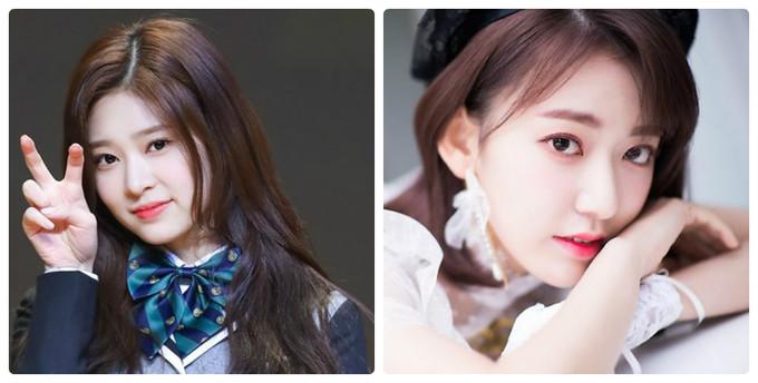 Kim Min Joo (trái) đứng vị trí center khi IZONE quảng bá ở Nhật. Tuy nhiên, Sakura lại là thành viên thường xuyên được khen ngợi nhan sắc ở các diễn đàn Kpop, mức độ nổi tiếng vượt trội ở cả thị trường Hàn, Nhật.