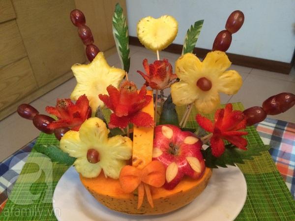 Cách bày giỏ hoa quả tổng hợp đẹp