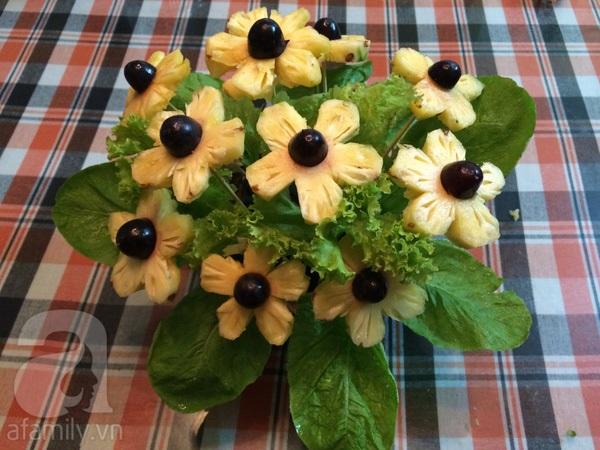 Cách bày hoa quả đẹp từ dứa