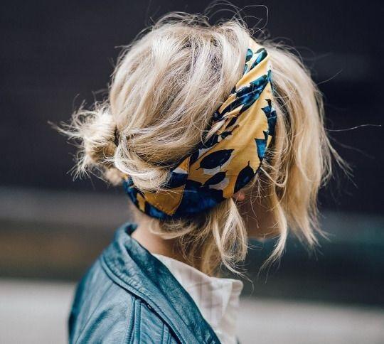 Buộc/búi kết hợp khăn/băng đô cho tóc ngắn