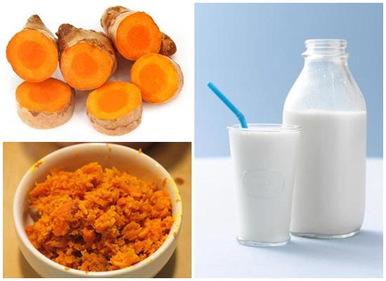 Dùng nghệ tươi kết hợp sữa chăm sóc da sau sinh hiệu quả