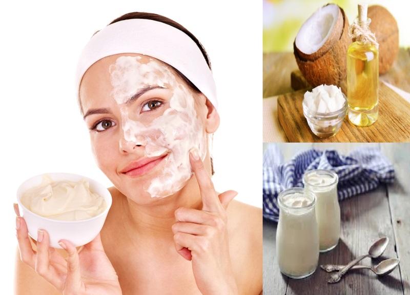 Cách làm đẹp da mặt bằng dầu dừa kết hợp với sữa chua