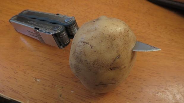 Cắt khoai tây thành miếng vừa tay cầm, chà xung quanh giúp làm mềm giày da nhanh chóng
