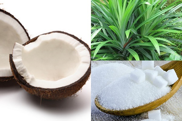 Nguyên liệu làm mứt dừa lá dứa màu xanh đơn giản nhất