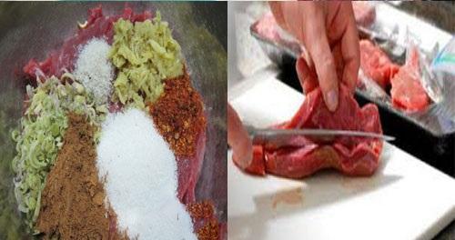 Thái thịt, trộn đều thịt với gia vị, ướp ít nhất trong 6 tiếng nhé chị em
