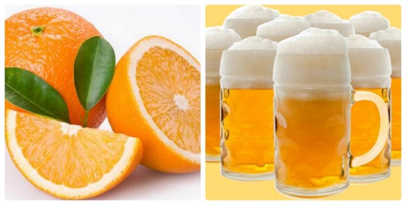 Bia và cam là 2 nguyên liệu dùng để tắm trắng hiệu quả.