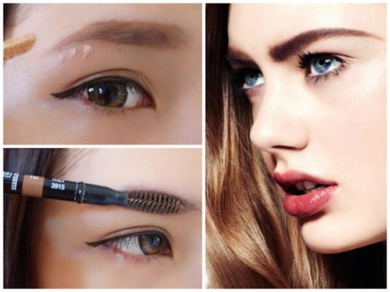 Đổi màu sắc cho lông mày bằng dùng mascara chuốt màu nhạt lên