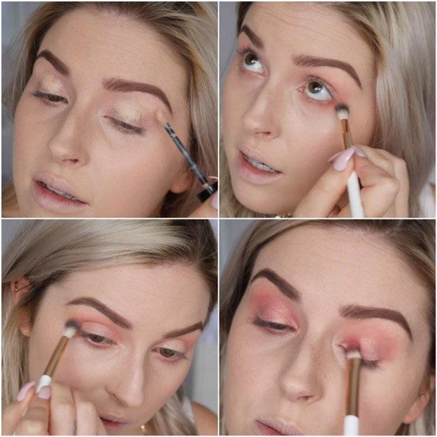 Đánh bóng mắt gam màu hồng đào mang vẻ đẹp ngọt ngào