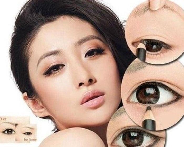 Cách trang điểm đẹp đơn giản sẽ tán rộng đường viền giúp mắt to tròn, dễ thương