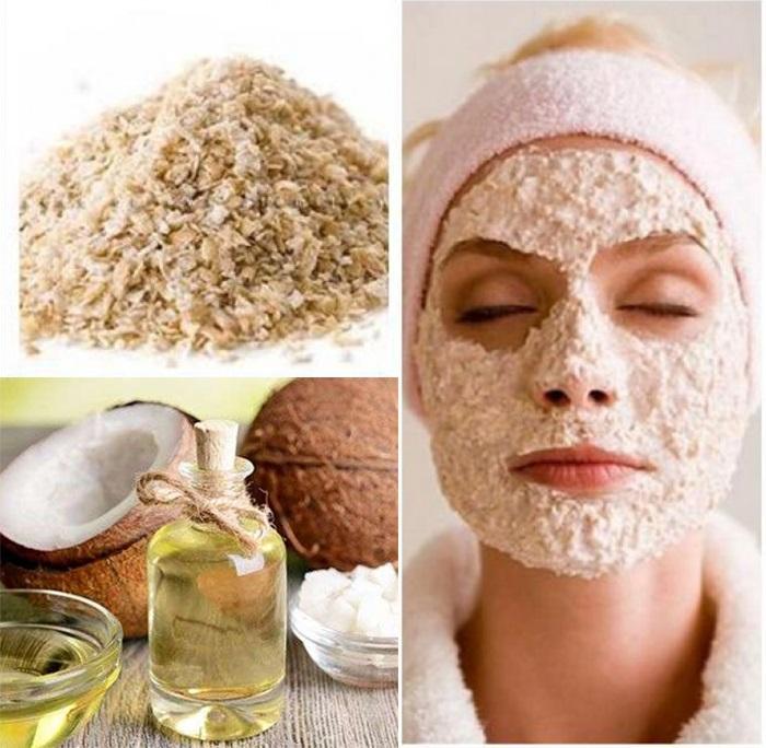 Cách trị sẹo thâm đỏ bằng dầu dừa kết hợp với bột yến mạch giúp phục hồi tổn thương trên da