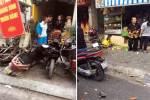 Xe rác mất lái lao lên vỉa hè, người dân bỏ chạy tán loạn