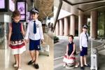 Xuất hiện tại sân bay, cặp song sinh nhà diva Hồng Nhung khiến mọi người phải ngoái nhìn vì lý do này