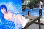 Sốc với phản ứng của ê kíp toàn nam khi thấy Phi Thanh Vân diện áo ngủ mỏng tang gần như lõa thể nằm tạo dáng ở bể bơi