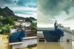 Giữa trận mưa lũ lịch sử, nước ngập sâu mấy mét, cặp đôi trẻ Ninh Bình vô tư leo lên nóc nhà để...chụp ảnh cưới
