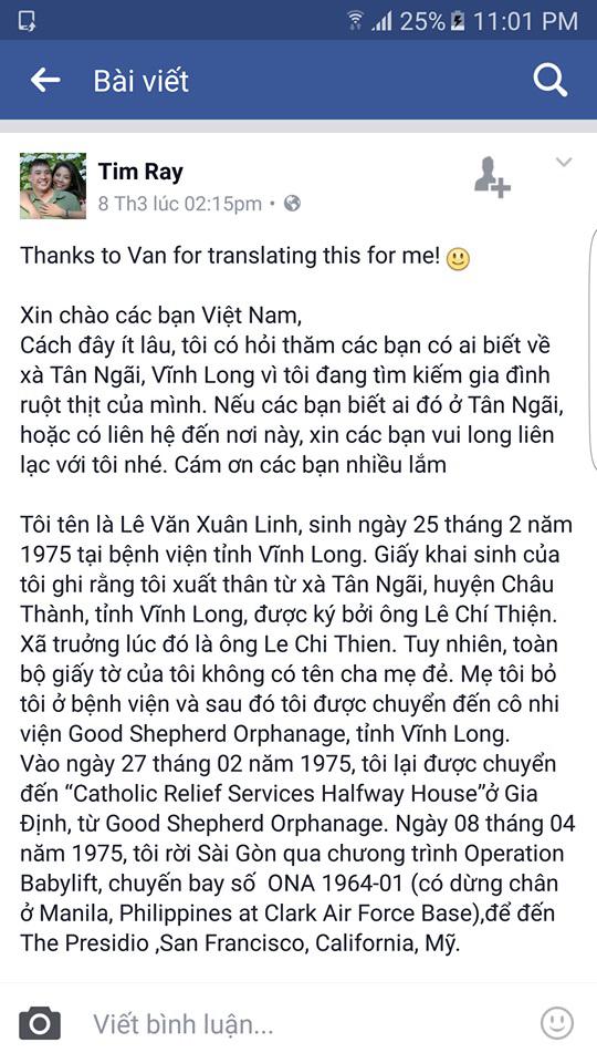 Thêm một đứa trẻ Babylift lên tiếng tìm kiếm cội nguồn Việt Nam - Ảnh 1
