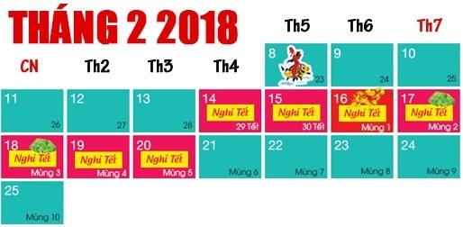 Ngày nghỉ đầu tiên Tết Nguyên Đán 2018 trùng với Lễ Tình nhân 14/2