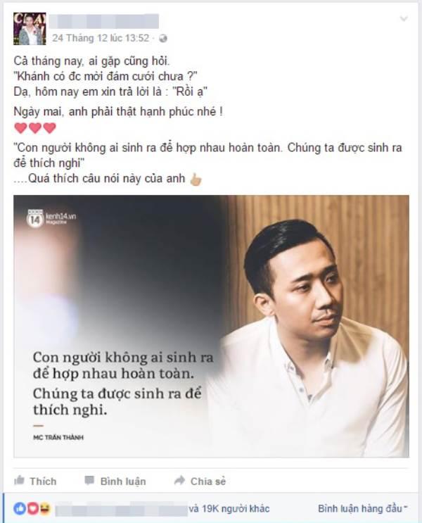 Trấn Thành bất ngờ vào bình luận status của Duy Khánh, 'cô giáo' thổ lộ điều gây sốc - Ảnh 1