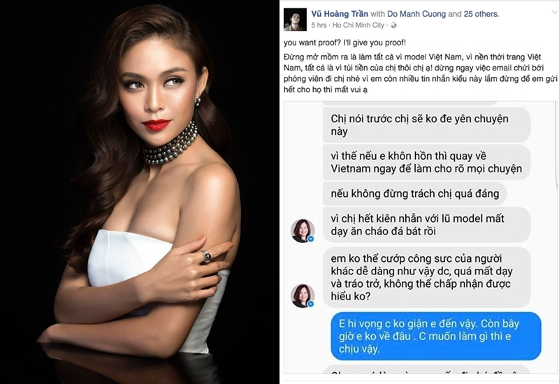tin nhắn được cho là của nhà sản xuất Vietnam's Next Top Model mắng quán quân Mâu Thuỷ bị phát tán