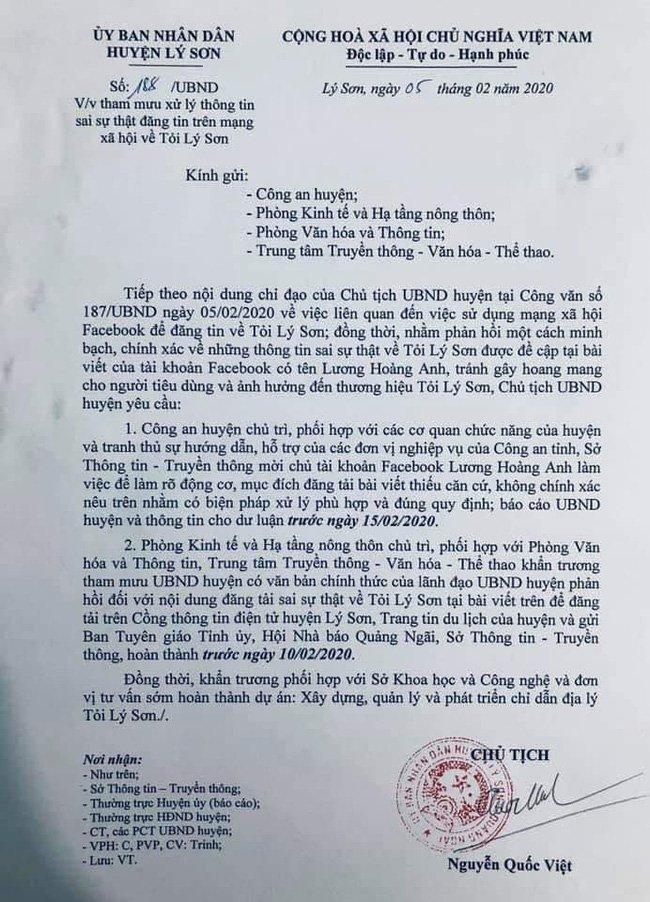 Lương Hoàng Anh - vợ cũ diễn viên Huy Khánh bị công an 'sờ gáy' vì tung tin 'tỏi Lý Sơn nhiễm thuốc trừ sâu' - Ảnh 3