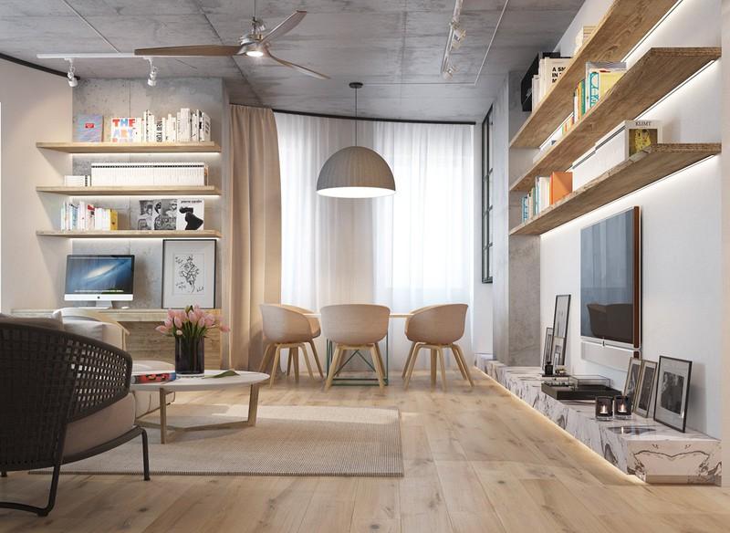 Nội thất căn hộ truyền cảm hứng với trần bê tông và sàn gỗ - Ảnh 3