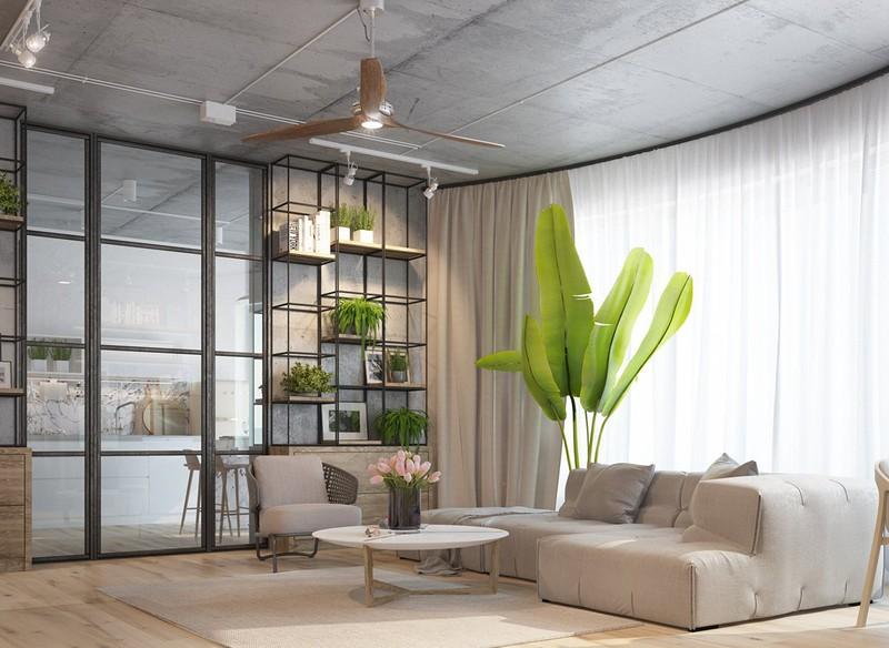 Nội thất căn hộ truyền cảm hứng với trần bê tông và sàn gỗ - Ảnh 1