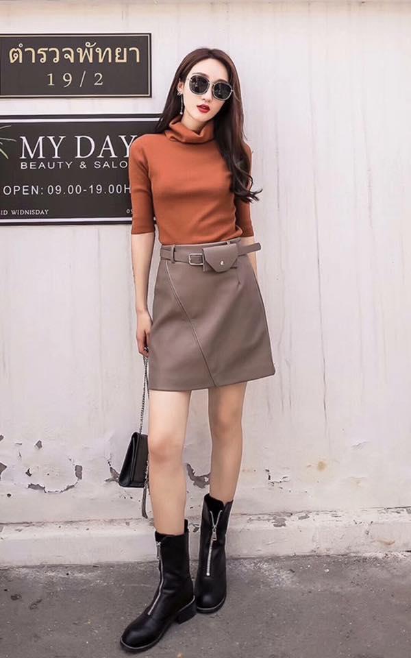Phối đồ với chân váy da: Gợi ý thời trang Thu - Đông cho các cô nàng sành điệu - Ảnh 10