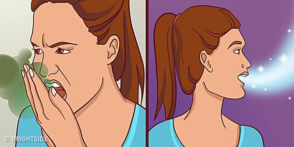 Hơi thở có mùi có nhiều nguyên nhân, trong đó phải kể đến thói quen ăn uống và vệ sinh răng miệng kém.