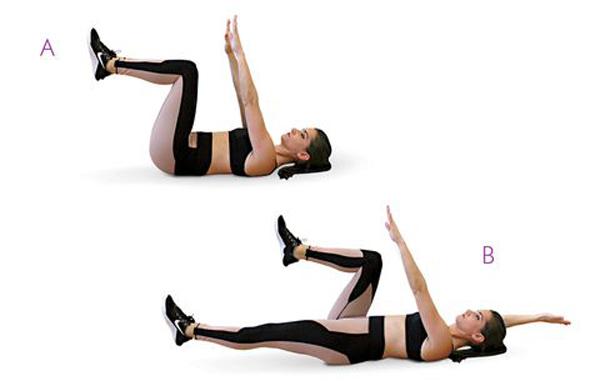 Chuẩn bị ở tư thế nằm ngửa, đầu gối co, hai chân đưa cao, hai tay duỗi thẳng trước ngực. Đạp thẳng một chân, tay ngược bên đưa lên đầu. Đổi bên, lặp lại động tác 30 lần mỗi bên.