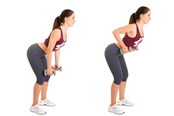 Đứng thẳng lưng với hai chân rộng bằng một vai, hai tay nắm tạ nhỏ. Thực hiện động tác cúi người, tay đưa tạ thấp về phía đầu gối rồi kéo lên ngang ngực 30 lần.