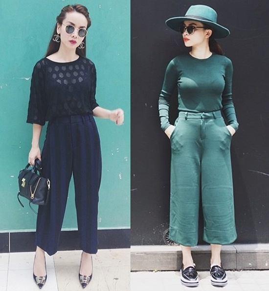 Diện nguyên cây với quần culottes không chỉ giúp người mặc thu hút hơn mà còn trông thon gọn, cao ráo hơn
