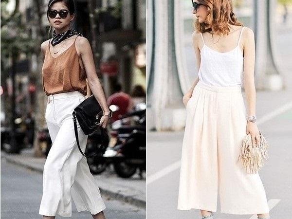 Kết hợp quần culottes với áo hai dây để tăng sự nữ tính