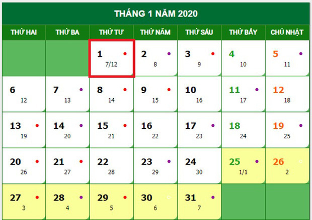 Tet duong lich 2020 duoc nghi may ngay 1