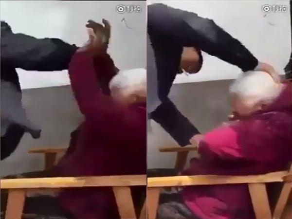 Sốc: Clip con trai đánh mẹ 90 tuổi vì không chịu nghe lời - Ảnh 1
