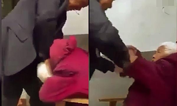 Sốc: Clip con trai đánh mẹ 90 tuổi vì không chịu nghe lời - Ảnh 2