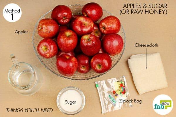 Các thứ cần chuẩn bị để làm giấm táo tại nhà