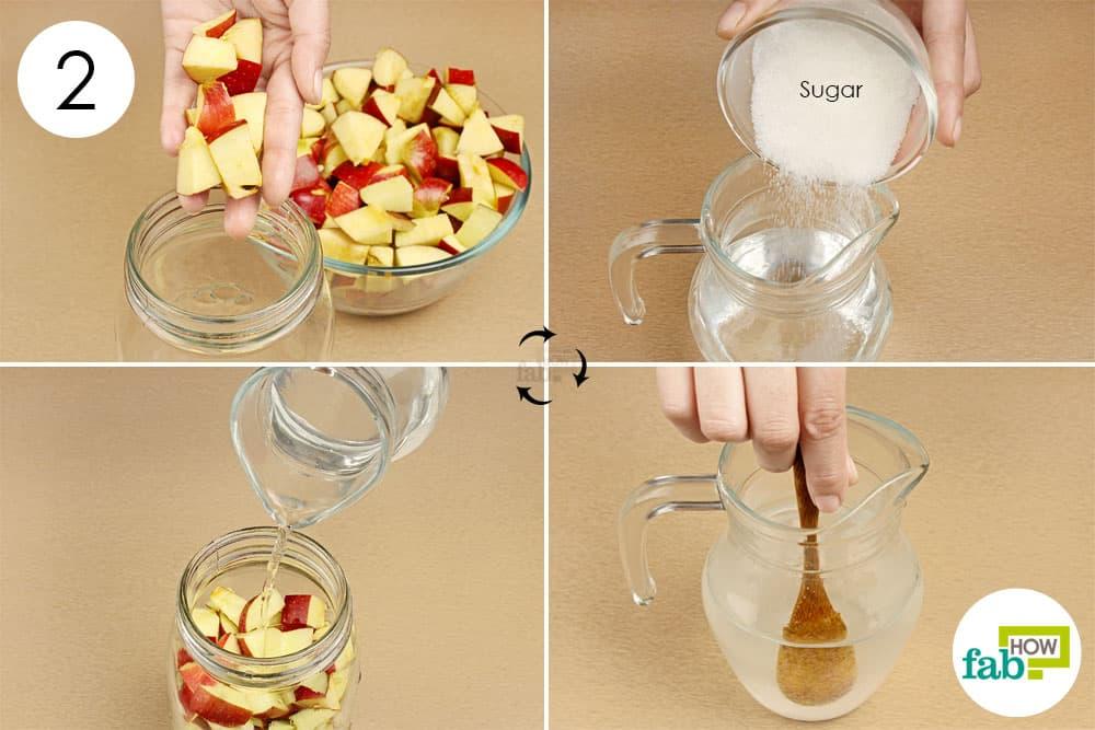Pha nước đường theo tỉ lệ tạo môi trường lên men nước táo