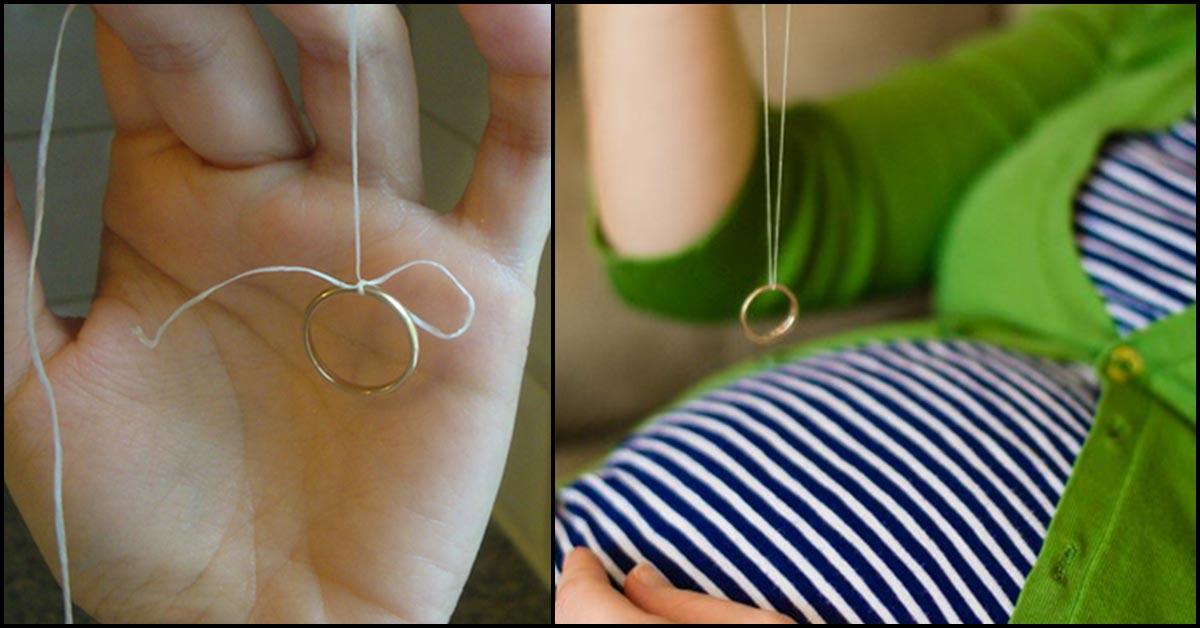 Mẹ bầu có thể dùng nhẫn cưới để xác định giới tính của thai nhi